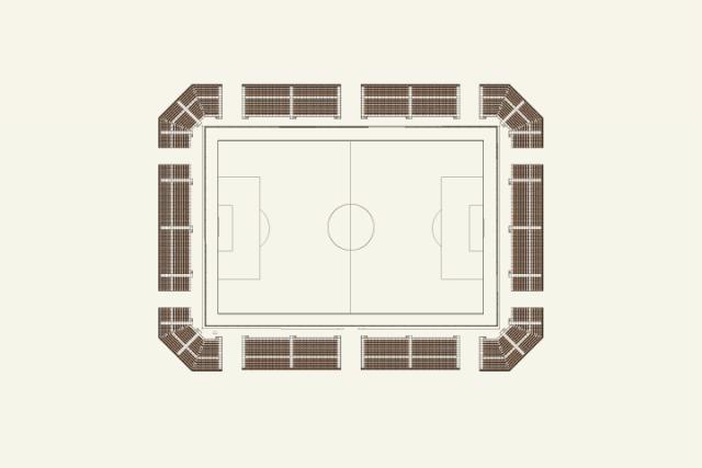 サッカースタジアムの仮設スタンド